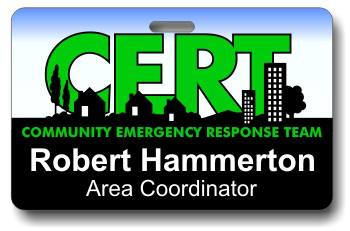 C.E.R.T. Community Emergency Response Team ID Badge