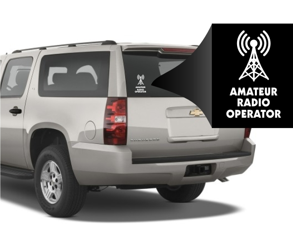 Amateur Radio Operator Antenna Window Decal
