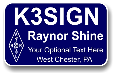 HAM Radio Callsign Name Badge Square