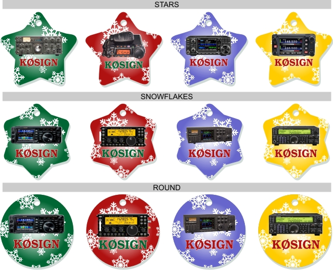 Radio & Callsign Christmas Tree Ornaments - Click Image to Close