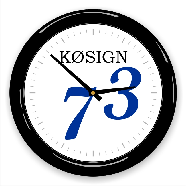 73 Wall Clock with Callsign Blue