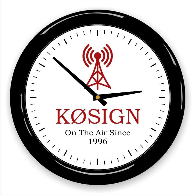 Blue Antenna Wall Clock with Callsign & Message
