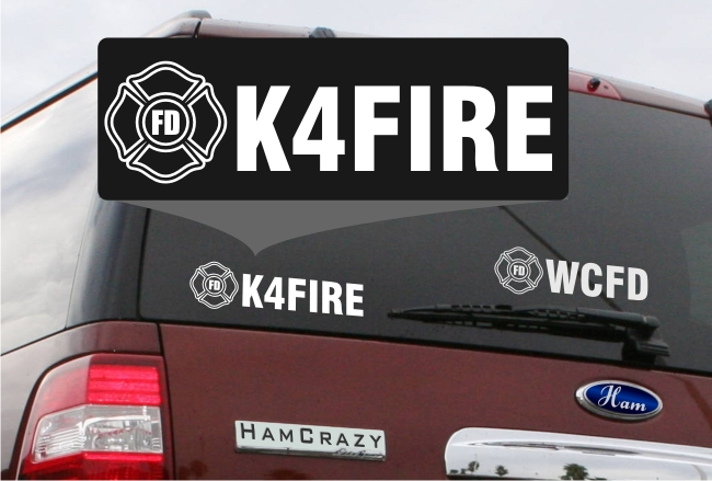 Fire Fighter Callsign Window Decal - Click Image to Close