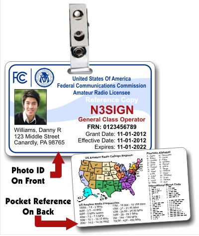 FCC Amateur Radio License Photo ID Card with Clip