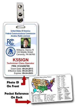 Vertical FCC Amateur Radio License Photo ID Card with Clip