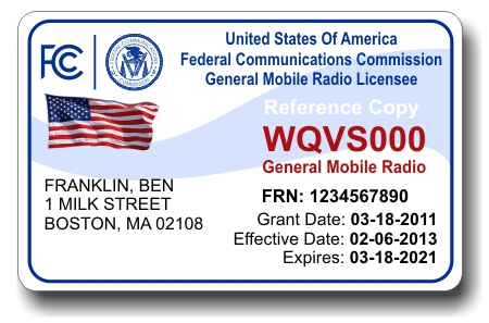FCC GMRS Radio License ID Card