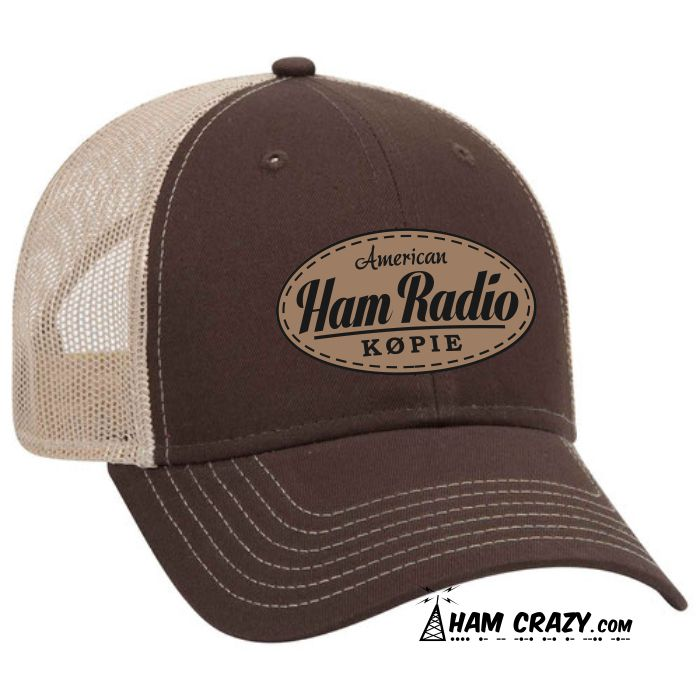 e45c15d926784 American Ham Radio Leather-look Patch Hat with Callsign
