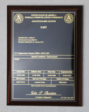 Amateur Radio License Plaque - Black & Gold on Walnut