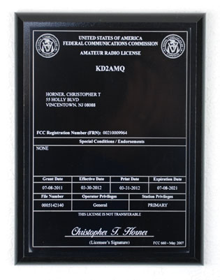 Amateur Radio License Plaque - Black & White