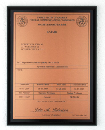 Amateur Radio License Plaque - Copper & Black