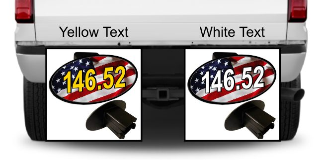 Ham Radio Frequency Hitch Cover with American Flag