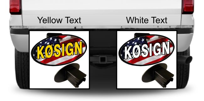 Ham Radio Callsign Hitch Cover with American Flag