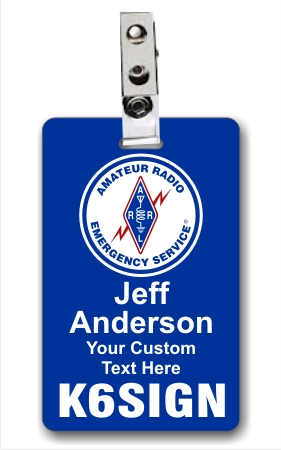 Callsign ARES Logo Vertical ID Badge Blue