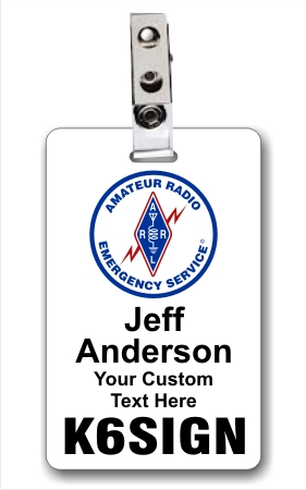 Callsign ARES Logo Vertical ID Badge White