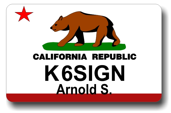 Callsign ID Badge with California State Flag