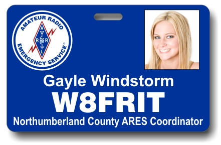 Callsign ARES Horizontal Photo ID Badge Blue
