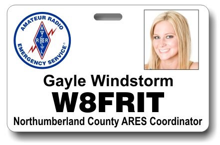 Callsign ARES Horizontal Photo ID Badge White