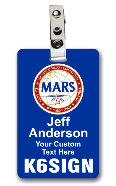 Callsign MARS Vertical ID Badge Blue