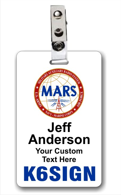 Callsign MARS Vertical ID Badge White
