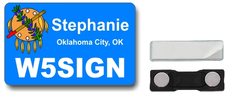 Callsign ID Badge with Oklahoma Flag