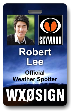 Callsign Skywarn Photo ID Badge with Lightning