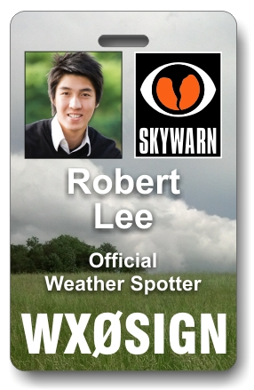 Callsign Skywarn Photo ID Badge with Clouds