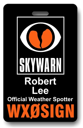 Callsign Skywarn ID Badge Black