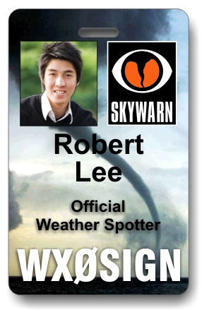 Callsign Skywarn Photo ID Badge with Tornado