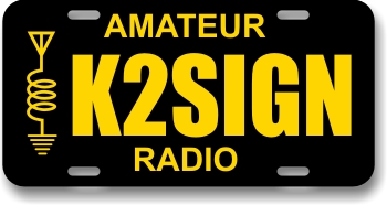 Ham Radio Callsign License Plate with Radio Icon