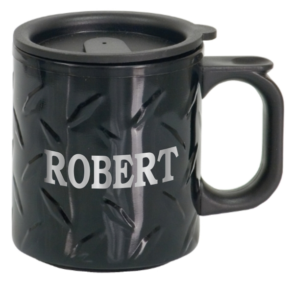 Stainless Steel Diamond Plate Mug With Name