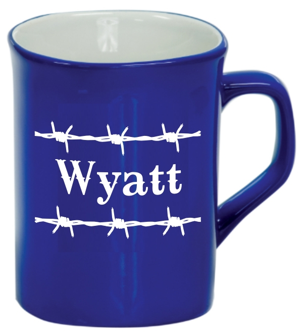 Rounded Square Mug With Name Barbed Wire