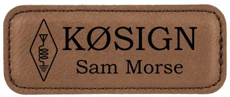"Leatherette Callsign Name Badge - 3 1/4"" x 1 1/4"" - Click Image to Close"