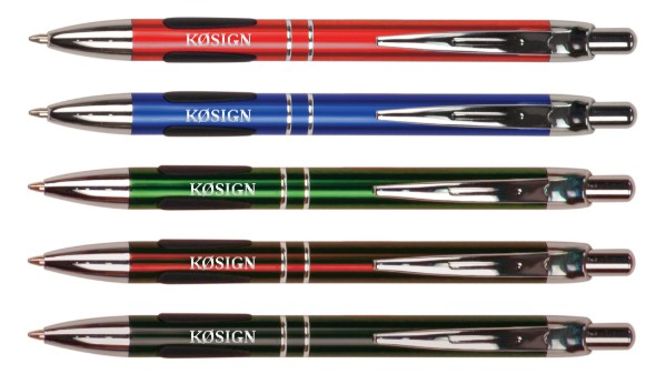 Callsign Gripper Pens - Colorful Aluminum with Silver Trim
