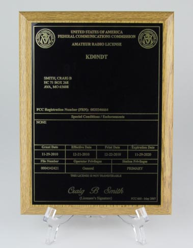 Amateur Radio License Plaque - Oak