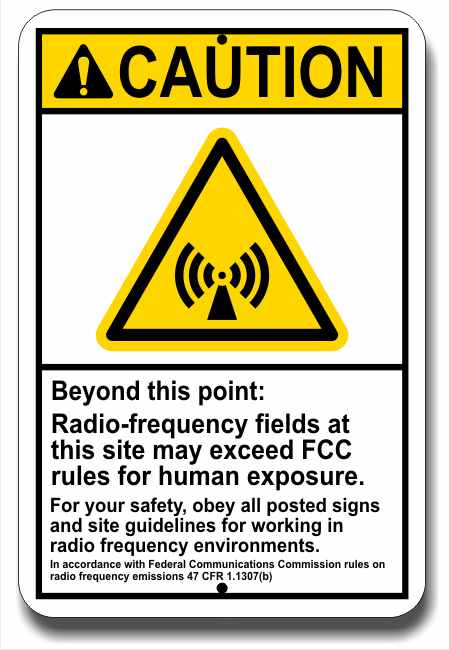 RF Warning Sign - 8 X 12 Inches Aluminum