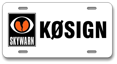 Skywarn Logo License Plate with Callsign