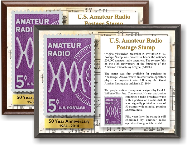 US Amateur Radio Postage Stamp Commemorative Display Plaque