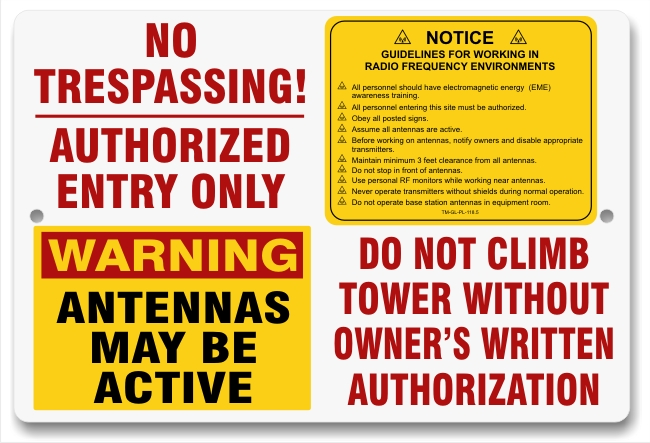 Tower Warning Sign - 8 X 12 Inches Aluminum